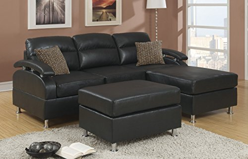 5-piece Modern Reversible Black Bonded Leather Sectional Sofa with Ottoman