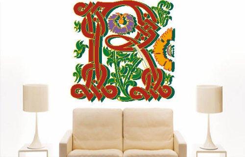 Imagen 2 de Etiqueta de la pared multicolor MF034 R ornamento o floral tribal maravilloso carta 120 x 116 cm