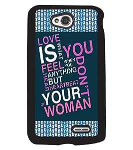 PRINTVISA Love is U Premium Metallic Insert Back Case Cover for LG L70 - D5787