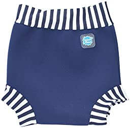 Happy Nappy Baby and Toddler Swim Diaper, Navy White Stripe, XX Large 24+ Months