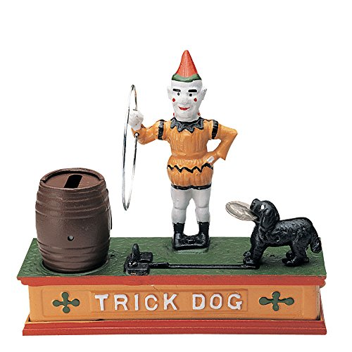 Bits and Pieces -There`s a Trick To Saving-Collectible Cast Iron Mechanical Bank - Watch the Dog Jump Through the Hoop to Deposit Your Money