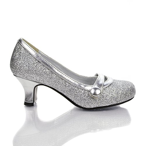 Deliih Silver Round Toe Button Strap Mary Jane Low Thick Block Dress Heels-2 front-959113