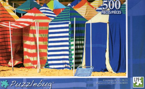 Colorful Beach Huts - Puzzlebug - 500 Pc Jigsaw Puzzle - NEW