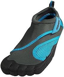 Norty Fresco - Womens Skeletoe Velcro Close Aqua Water Shoe, Grey, Turquoise 38903-8B(M)US