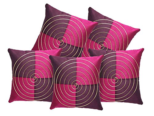16x16 Premium Maze Designed Cushion Cover Set of 5 Pcs With Zipper-Paradise Pink