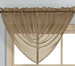 Elegance Voile Taupe Waterfall Sheer Valance One 65x36 , The Prince Collection