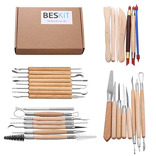 BESKIT 30PCS Clay Sculpting Tools Pottery Carving Tool Set - Includes Clay Color Shapers, Modeling Tools & Wooden Sculpture Knife (Modeling Tools compare prices)