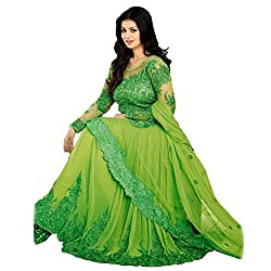 Rozdeal Women Net Embroidered Unstitched Longsleeve Green Anarkali Suit