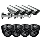 Yubi Power Security Bundle of 8 Fake Outdoor Surveillance Dummy Cameras with Blinking LED Lights - 4x YB-CA11 + 4x YB-250