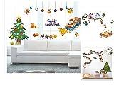 【ADOSSY】クリスマス 正月 ウォールステッカー 3枚 セット サンタ ツリー 雪 トナカイ 景色 いろいろ (かわいいバージョン)