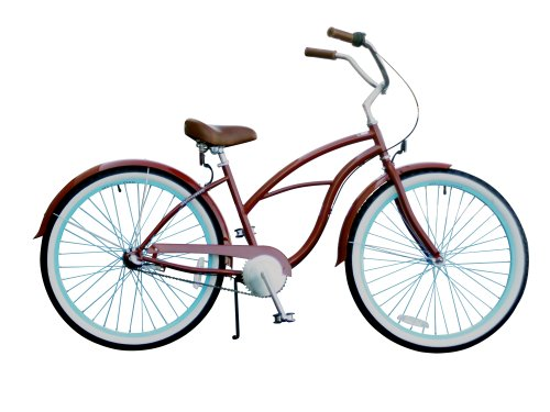 sixthreezero Women's Brick n' Blue 3-Speed Beach Cruiser Bicycle, Burgundy, 26-Inch