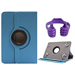 DMG Portable Foldable Stand Holder Cover Case for Mitashi Sky Tab 2 (Blue) + Tablet Holder Hand Stand