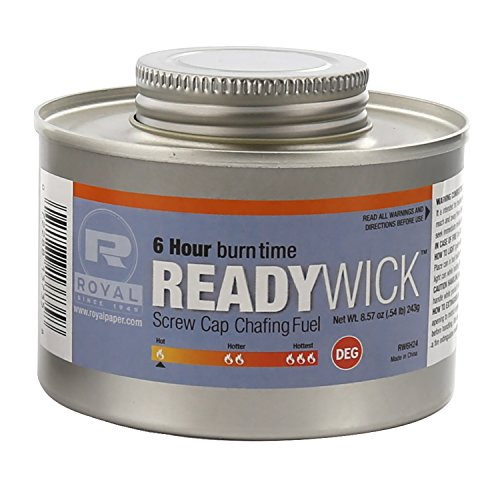 Royal 6 Hour Ready Wick Screw Cap Chafing Fuel, Package of 24