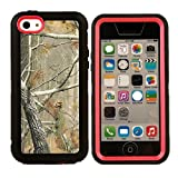 iCustomized (TM) Black and Pink Rugged Heavy Duty Hard Dual Layer Weather and Water Resistant Case with Camouflage Woods Design for the NEW Apple iPhone 5C (AT&T, Verizon, Sprint), Black Audio Jack Dust Plug Reviews