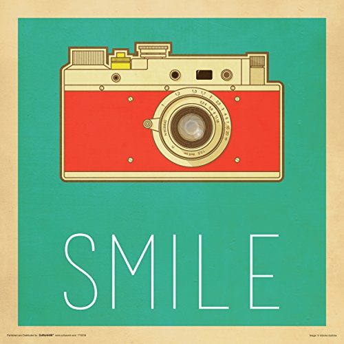 Camera Smile Retro Vintage Hipster Decorative Inspirational Art Poster Print 12x12