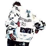 NOMADOSTYLE BIGBANG GD ジードラゴン L ユニセックス ナイロン ジャケット 黒 ブラック 白 ホワイト ストリート ライブ (白)