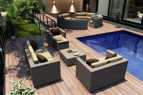 Harmonia Living Urbana 5 Piece Outdoor Sofa Set In Weathered Stone With Tan Sunbrella Cushions (Sku Hl-Urbnws-5Ss-Hb)