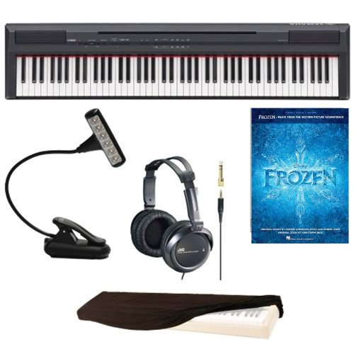 Yamaha P Series P105B 88-Key Digital Piano With Mighty Bright Led Music Book Light, Jvc Full-Size Headphones, 88-Key Keyboard Dust Cover & Frozen: Music Book From The Motion Picture Soundtrack Paperback