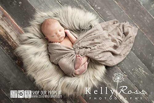 Wolf Gray/Brown Basket Stuffer Long Faux Sheepskin Faux Fur Newborn Photography Props, Newborn Photo Props, Fabric, Soft, Long, Baby Props