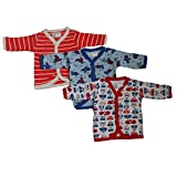 #8: Cotton Front Open Full Sleeves T-Shirt - Cartoon Animal New Born Set of 3 (0-3 Month)