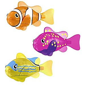 Zuru robo fish light up led toy set of 3 pink yellow for Zuru robo fish