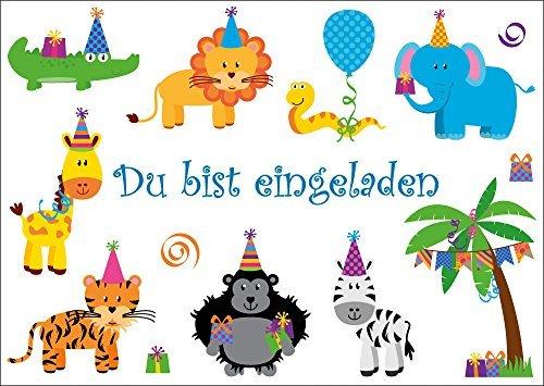 6 lustige einladungskarten 10654 party tiere feiern geburtstag f r kindergeburtstag im zoo. Black Bedroom Furniture Sets. Home Design Ideas