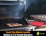 Burger Maker - BUILT IN HAMBURGER DIMPLER - Press 6 Juicy 1/3 Pound Bubba Sized Patties - Dishwasher Safe Silicone Stacks Easily for Freezer Storage - Voted Best BBQ Grill Accessories - Cave Tools