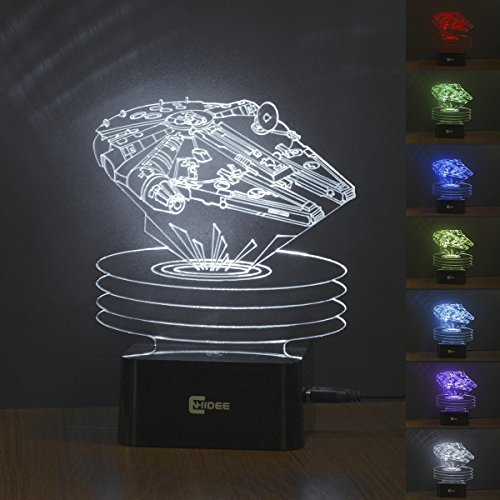 CNHIDEE Star wars 3D color changing night light for bedrooms, living rooms, offices and study rooms. (Millennium Falcon)
