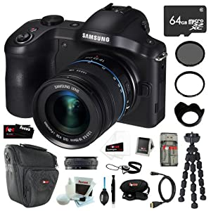 Samsung NX-GN120 Galaxy NX Camera 20.3MP Android 3G/4G Wi-FI Digital Camera with 18-55mm OIS Lens + 64GB Micro SDXC + Tiffen UV Protector & Circular Polarizer Filter + Micro HDMI Cable + Accessory Kit
