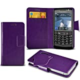 (Purple) Blackberry Pearl 3G 9105 Super Thin PU Leather Suction Pad Wallet Case Cover Skin With Credit/Debit Card Slots By Fone-Case