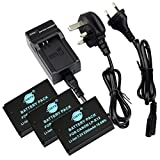 DSTE® (3-pack LP-E12 Replacement Li-ion Battery + Charger DC136U for Canon EOS M, EOS Rebel SL1, EOS 100D Digital Cameras