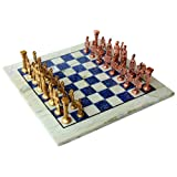 "15"" X 15″ Collectible Chess Game Board Set Made With Australian Marble, Lapis Lazuli + Roman Brass Pieces (Delivery..."