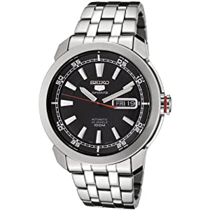 Click to buy Seiko Watches for Men: SNZH63 Seiko 5 Automatic Black Dial Stainless Steel Watch from Amazon!