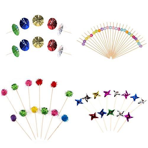 Colorato Set di bastoncini da cocktail, van zandt, ombrelli, soffice e palline in plastica forme)