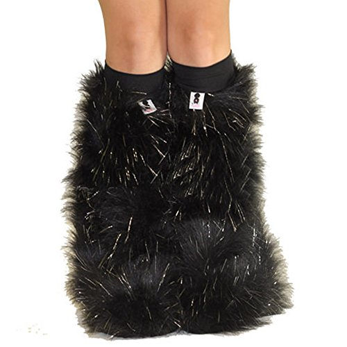 Black Sparkle Rave Furry Legwarmers Fluffies