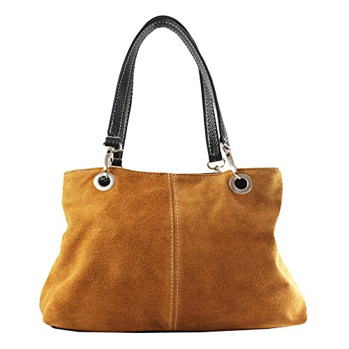 CTM Borsa a Mano da Donna in Vera Pelle Scamosciata Made in Italy - 32x20x14 cm