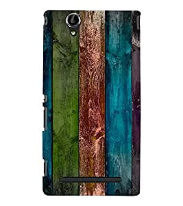 PrintVisa Colorful Wooden Pattern 3D Hard Polycarbonate Designer Back Case Cover for Sony Xperia T2 Ultra