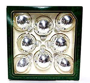 "Vintage 3"" Silver Mercury Glass Krebs Christmas Tree Ornaments Bulbs"