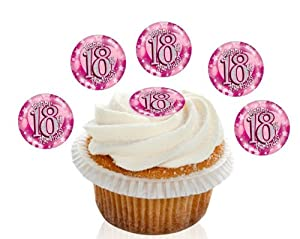 Edible Cake Decorations For 18th Birthday : 24 Pre Cut Pink Happy 18th Birthday Edible Premium Disc ...