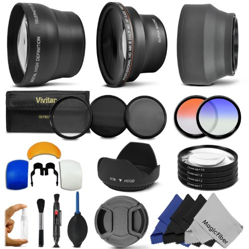 58MM Essential Accessory Kit for CANON EOS REBEL (T5i T4i T3i T3 T2i T1i XT XTi XSi SL1) – Includes: 0.43x Wide Angle & 2.2x Telephoto High Definition Lenses + Vivitar Filter Kit (UV, CPL, ND8) + Vivitar Macro Close-Up Set + Collapsible Lens Hood + Tulip Lens Hood + Center Pinch Lens Cap + 2 Color Filters + Flash Diffuser Set + Deluxe Cleaning Kit with MagicFiber Microfibers