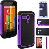 MOTO G case,EC™ Shock Absorbing Dual Layer Hybrid Case, Heavy Duty Protective Armor Case Cover for Motorola Moto G (1st Gen only)with Screen Protector and Stylus Pen (Purple)