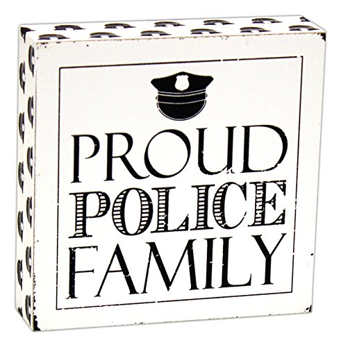 [Officer Hat Proud Police Family Black and White 6 x 6 Wood Block Table Top Sign] (Cheap Police Hats)