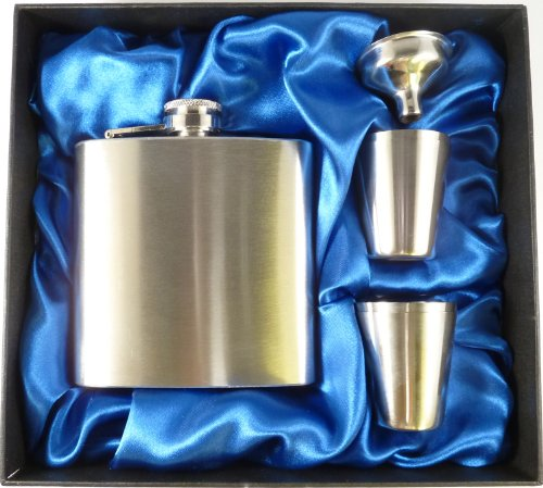 Personalised Engraved 6oz Hip Flask Gift Set, with Funnel and Four Cups in Presentation Box
