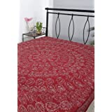 Rajrang Maroon Cotton Embroidered Bedsheet Single #Bst02030