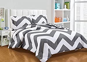 Chezmoi Collection 3-piece Chevron Zig Zag Comforter Bedding Set (Queen, Grey)