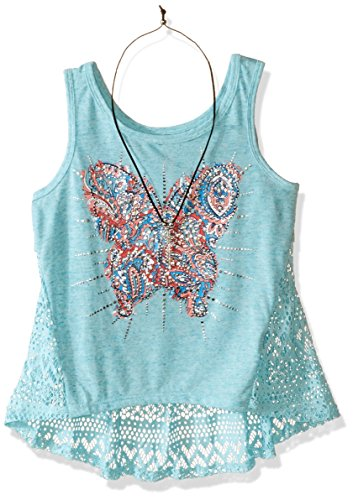 Beautees Big Girls' Screen Tank Top with Lace Back and Necklace, Aqua, Large