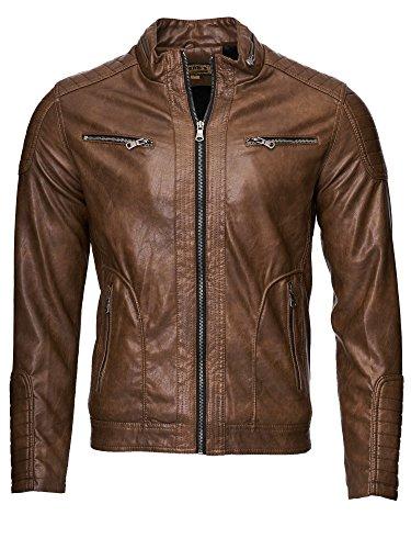Uomini giacca in pelle giacca da uomo | similpelle | 1002 marrone M