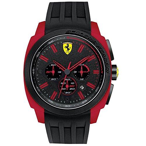 Ferrari Hombre 46 mm FECHA cronógrafo colour negro correa de caucho reloj 0830115