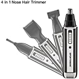 Nose Trimmer, [Newest Version] 4 In 1 Rechargeable Nose Hair Trimmer/Nose Ear Trimmer/Beard Trimmer/Sideburn Trimmer...