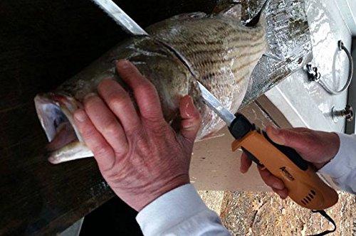 American Angler PRO Professional Grade Electric Fillet Knife Sportsmens Kit – 110 Volt High Performance Ergonomic Motorized Handset with Five Kinds of Stainless Steel Blades, 32352DS